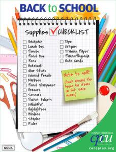 Back To School List
